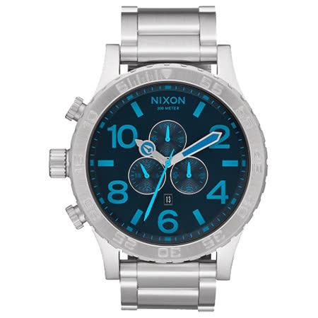 NIXON The 51-30 CHRONO 潛龍諜影運動腕錶-藍x銀