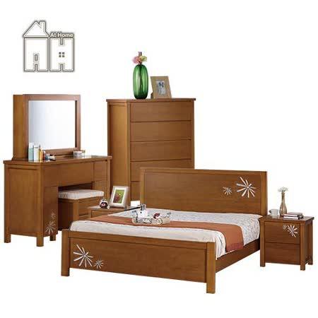 AT HOME-潘恩5尺柚木色雙人床組(床架+床頭櫃*2+五斗櫃+化妝台(含椅))