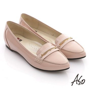 【A.S.O】減壓美型 全真皮鏡面窩心尖頭平底鞋(卡其)