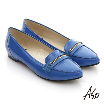 【A.S.O】減壓美型 全真皮鏡面窩心尖頭平底鞋(藍)