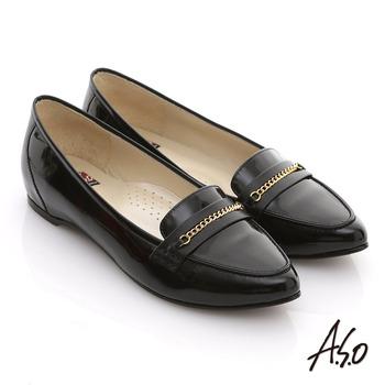 【A.S.O】減壓美型 全真皮鏡面窩心尖頭平底鞋(黑)
