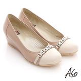 【A.S.O】舒活寬楦 全真皮條帶釦環楔型鞋(卡其)