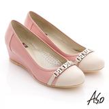 【A.S.O】舒活寬楦 全真皮條帶釦環楔型鞋(粉紅)