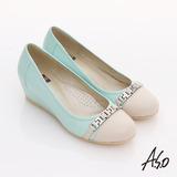【A.S.O】舒活寬楦 全真皮條帶釦環楔型鞋(淺藍)