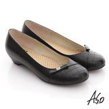 【A.S.O】舒活寬楦 全真皮壓紋貼鑽低跟鞋(黑)