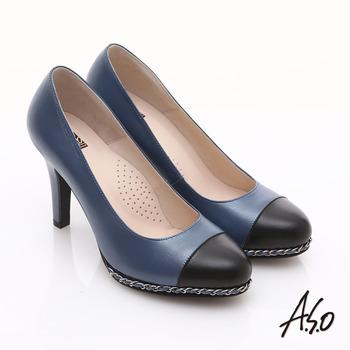 【私心大推】gohappy線上購物【A.S.O】優雅時尚 珠光真皮雙色鍊帶高跟鞋(藍)好用嗎大 遠 百 台中 營業 時間