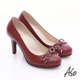 【A.S.O】優雅時尚 真皮鍊帶蝴蝶結飾高跟鞋(紅)