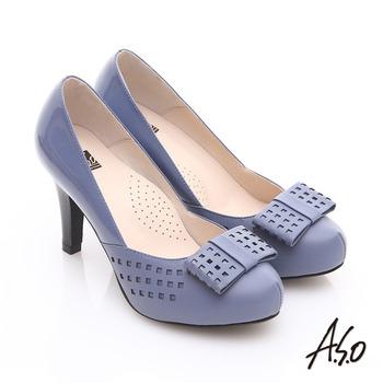 【好物推薦】gohappy【A.S.O】優雅時尚 真皮幾何沖孔蝴蝶結飾高跟鞋(藍)開箱遠東 都會 city super