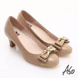 【A.S.O】舒適通勤 全真皮異材質拼接典雅高跟鞋(卡其)