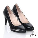 【A.S.O】輕透美型 鏡面真皮側鏤空高跟鞋(黑)