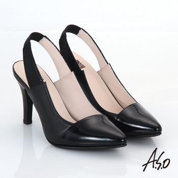 【A.S.O】減壓美型 全真皮雙色拼接後拉帶高跟鞋(黑)