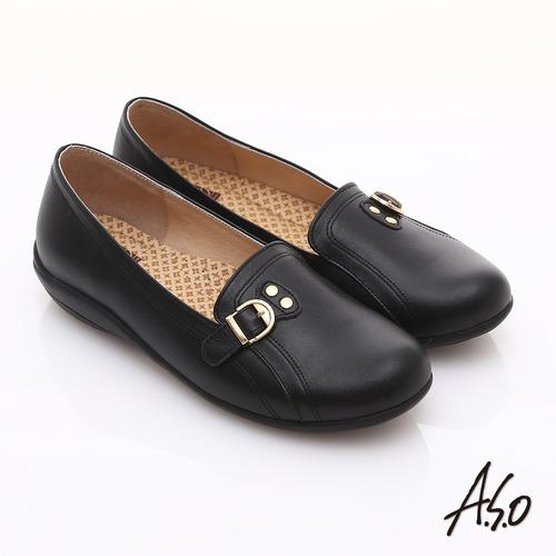 ~A.S.O~舒適通勤 全真皮金屬飾扣奈米休閒鞋 黑