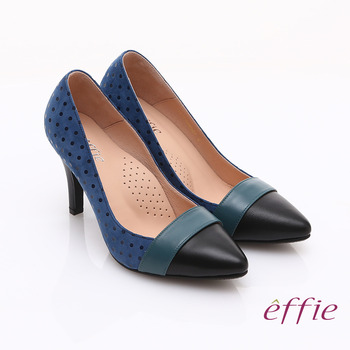 【勸敗】gohappy【effie】輕透美型 羊皮拼接絨面點點高跟鞋(藍)效果如何大 元 百 威 秀