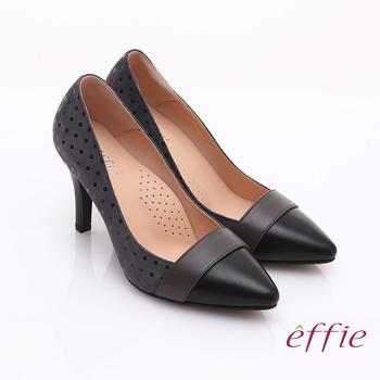 【真心勸敗】gohappy線上購物【effie】輕透美型 羊皮拼接絨面點點高跟鞋(灰)哪裡買遠 百 企業