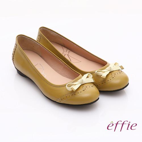 ~effie~俏麗悠活 全真皮織帶蝴蝶結飾平底鞋^(黃^)