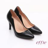 【effie】輕透美型 鏡面牛皮側邊獨特線條素色高跟鞋(黑)