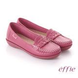 【effie】手工縫線 牛皮編織條帶奈米平底休閒鞋(桃粉紅)