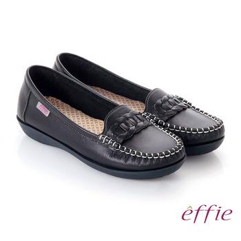 【effie】手工縫線 牛皮編織條帶奈米平底休閒鞋(黑)
