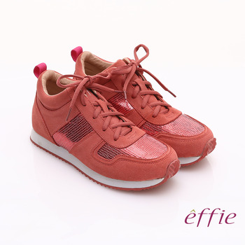 【effie】心機美型 絨面真皮亮片綁帶奈米休閒鞋(桃粉紅)