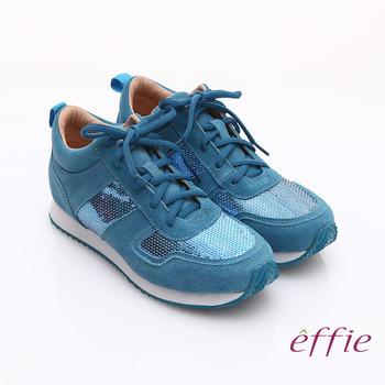 【effie】心機美型 絨面真皮亮片綁帶奈米休閒鞋(藍)