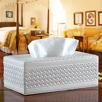 幸福揚邑 【福利品優惠】編織格紋皮革 磁吸式收納 -面紙盒/紙巾盒(經典白)