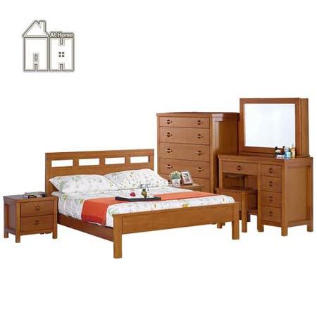 AT HOME-羅浮5尺柚木色雙人床組(床架+床頭櫃*2+六斗櫃+化妝台(含椅))