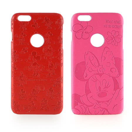 Disney iPhone 6 Plus/6s Plus 高質感皮革壓紋背蓋保護殼-米妮