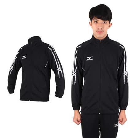 (男) MIZUNO 針織運動外套- 立領 慢跑 路跑 美津濃 黑白