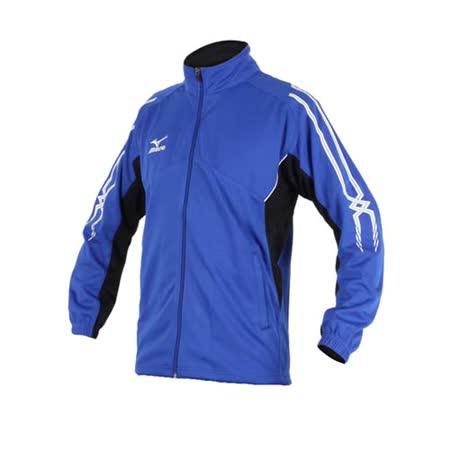 (男) MIZUNO 針織運動外套- 立領 慢跑 路跑 美津濃 藍白黑