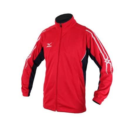 (男) MIZUNO 針織運動外套- 立領 慢跑 路跑 美津濃 紅白丈青