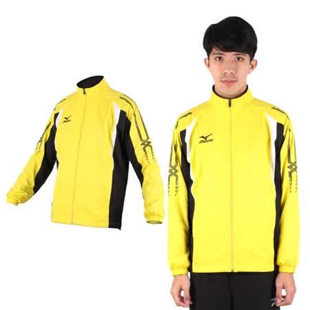 (男) MIZUNO 平織運動外套- 風衣外套 防風 立領 美津濃 黃黑