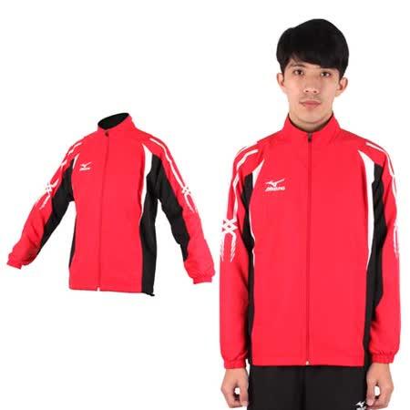 (男) MIZUNO 平織運動外套- 風衣外套 防風 立領 美津濃 紅黑白