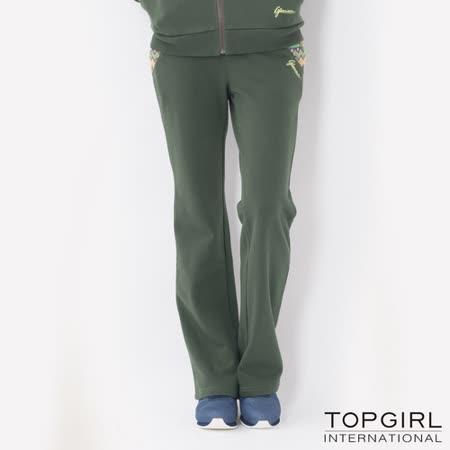 TOP GIRL-圖騰提花拼接休閒長褲 (深墨綠)(品特)