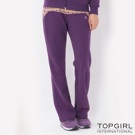 TOP GIRL-圖騰提花拼接休閒長褲 (魅力紫)(品特)