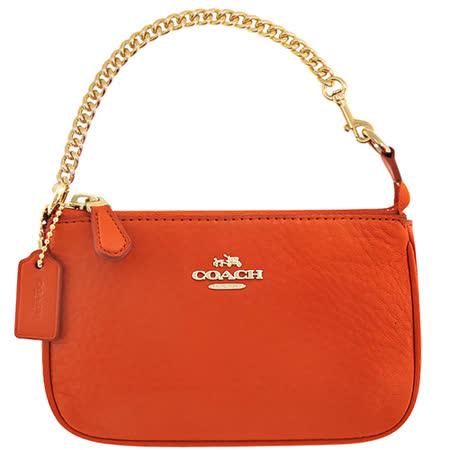 COACH 馬車皮革鍊帶小型手提包-亮橘色