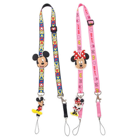 Disney 可愛造型零件手機袋吊繩/識別證帶-大頭系列