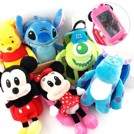Disney 5吋通用可愛角色造型絨毛手機袋