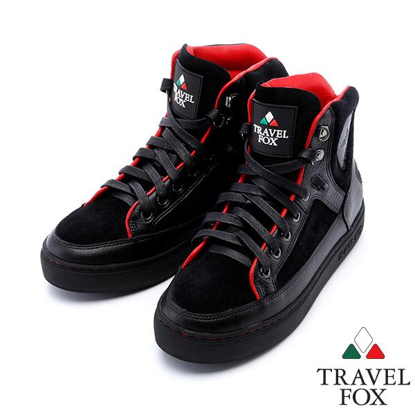 女Travel Fox 蒂雅精靈高筒鞋915814^(黑紅~349^)
