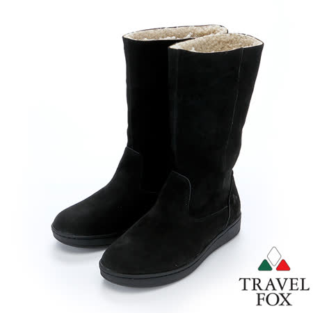 女Travel Fox 柔軟羊皮翻領雪靴915850(黑-901)
