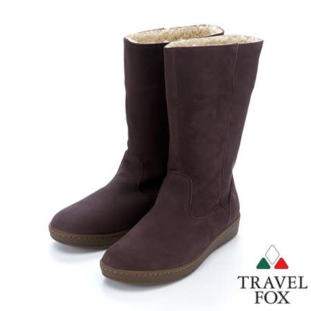 女Travel Fox 柔軟羊皮翻領雪靴915850(紫-919)