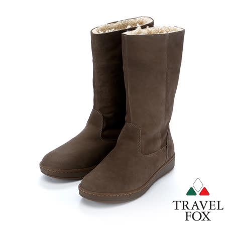 女Travel Fox 柔軟羊皮翻領雪靴915850(深咖啡-976)