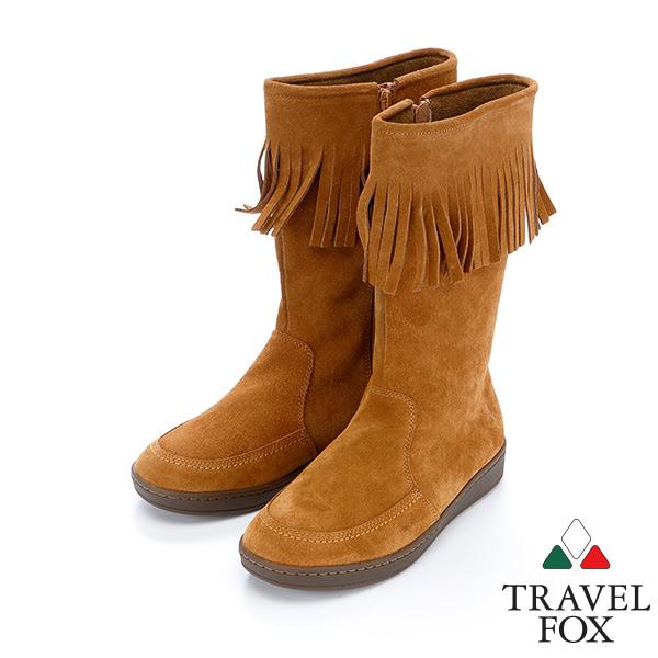 女Travel Fox 柔軟牛皮流蘇靴915851^(駱駝~248^)