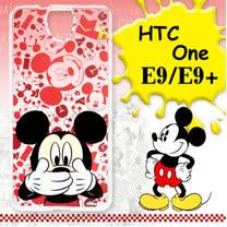 迪士尼授權正版 HTC One E9/E9+ 可共用 大頭背景系列透明軟式手機殼(摀嘴米奇)