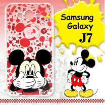 迪士尼授權正版 Samsung Galaxy J7 大頭背景系列透明軟式手機殼(摀嘴米奇)