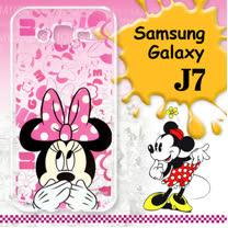 迪士尼授權正版 Samsung Galaxy J7 大頭系列透明手機軟殼(摀嘴米妮)