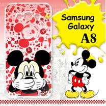 迪士尼授權正版 Samsung Galaxy A8 大頭背景系列透明軟式手機殼(摀嘴米奇)
