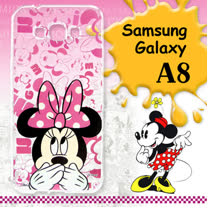 迪士尼授權正版 Samsung Galaxy A8 大頭系列透明手機軟殼(摀嘴米妮)