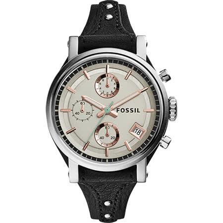 FOSSIL 雅典女仕時尚計時腕錶-香檳金x黑/38mm ES3946