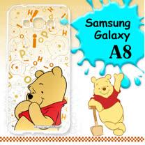 迪士尼授權正版 Samsung Galaxy A8 大頭背景系列透明軟式手機殼(摀嘴維尼)