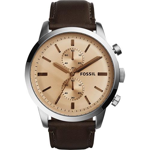 FOSSIL Townsman 紳士計時腕錶~香檳金x咖啡48mm FS5156